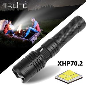 TRLIFE de alta potencia XHP50 / 70,2 recargable de alimentación LED Brillo táctico USB antorcha de la linterna para acampar