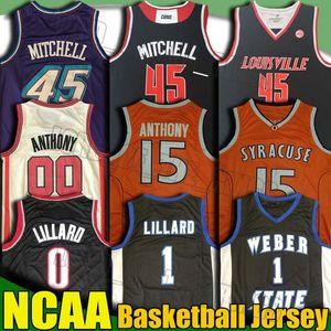 NCAA Gonzaga Donovan camiseta de baloncesto de la universidad Damian Lillard 0 Jersey Carmelo Anthony 00 jerseys 45 Mitchell Jersey Weber Estado