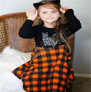 Çocuk Giyim Tasarımcı Cadılar Bayramı Uzun Kollu Kazak Süveter Moda Ekose Etek Kıyafet Sonbahar Kış Kız Kazak Elbise Takım Elbise D81205
