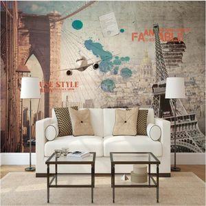 Milofi custom 3D non-woven fabric large mural wallpaper European retro nostalgic Paris Tower living room TV background wall