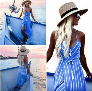 Caixilhos Stripe impresso Womens Assimétrico Vestidos Moda Spaghetti Strap Backless Vestidos Sexy V Vestidos pescoço com