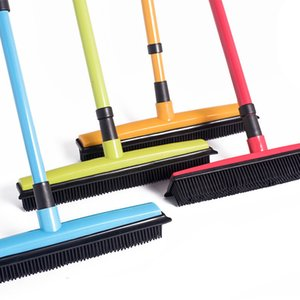Long Push Broom Rubber Bristles Sweeper Squeegee Scratch Free Bristle Broom for Pet Cat Dog Hair Carpet Hardwood Windows Clean