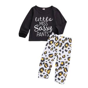 Il bambino scherza maniche lunghe stampa della lettera Tee Tops Leopard Pantaloni Little Miss Sassy Pants Stampa set clother molla per bambine