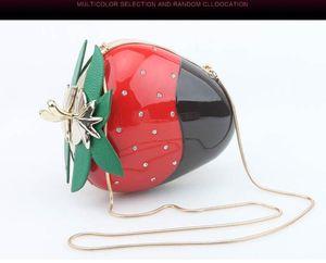 DesignerAcrylic Çilek Gece Çantası Mini Sevimli Kristal Debriyaj Çanta Parti Çanta Meyve Omuz Messenger Crossbody Straw Berry - LCM