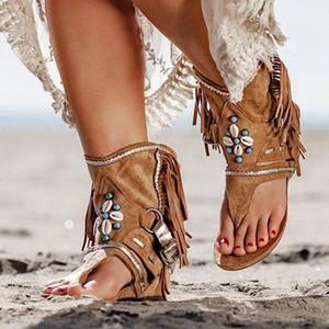 Богемия лето Женщины Сандал Этнический стиль кисточки Ботильоны Сандал Чистка Ladies Рим Thong Гладиатор Flat Sandals afy8 #