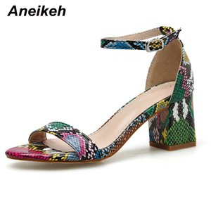 Aneikeh Fashion Colour Serpentine Women Shoes Peep Toe 6CM High Heels Sandals Summer Party Shoes PU Ankle Buckle Sandals Pumps 200924
