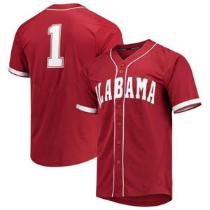 Personalizado Mens Alabama Crimson Tide NCAA Jersey 100% costurado Alabama Crimson Tide Colégio Baseball Jerseys qualquer nome de qualquer número S-XXXL
