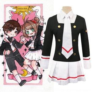 2irR7 l2sqT Sakura Sihirli Kart kadın kadın giyim sihirli kart kız Sakura coswear JK sürekli değişen üniform Zhishi okul forması cosply