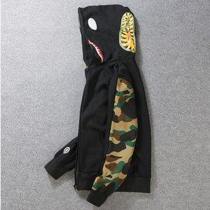 Bocca Streetwear Hip 19FW Camouflage invernale con cappuccio da uomo lettere ricamo felpata del cappotto del cardigan di Shark hop S-2XL