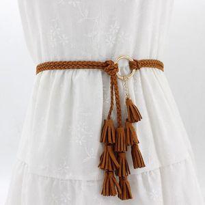 Boho Mädchen dünne Taillen-Seil-Mode Frauen Solid Color Geflochtene Quaste Gürtel 2020 neue Strickgürtel Kleid Taillenbändern Zubehör