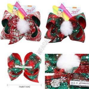 Clip de 7 pulgadas Navidad horquilla muchachas de los cabritos arcos del pelo JOJO bowknot camisas a cuadros pernos de pelo con clips Pompoms horquilla del pelo del partido de Navidad Barrettes D92201
