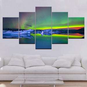 Mordern Canvas Wall Art Pictures HD Prints Paintings 5 Pieces Green Aurora rainbow Lake Hill Night Posters Home Decor Framework