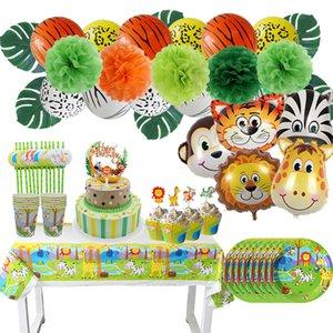 Safari Tableware Set Party Decoration Kids Plate Cups Hats Tablecloth Straw Animal Jungle Birthday Decor Supplies