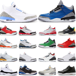 venta caliente zapatos para mujer para hombre de baloncesto Jumpman 3 3s hombres saténJordánRetro UNC láser de color naranja Varsity Royal ENTRENADORES zapatillas deportivas