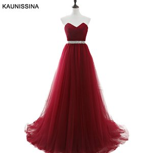 KAUNISSINA Prom Dress Formal Gown Tulle Dresses Sweetheart Neck Sleeveless Evening Gowns Sequin Beaded Graduation Party Dress