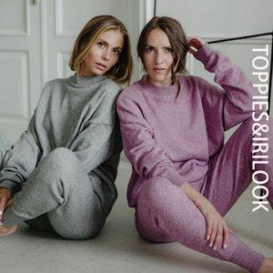 Alta calidad Toppies 2020 Invierno de punto de dos piezas para mujer de los chándales de cintura alta del basculador del lápiz de los pantalones trajes para mujeres