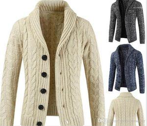 Sleeved Sweater Turtleneck Cardigan Button Knit Outerwear Winter Warm Gentlemen Coats Mens Fashion Designer Jackets Mens Long