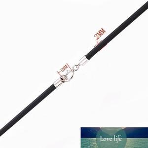 Черный резиновый шнур Neckalce 2.0mm с 925 Silver разъемы застежками для 12шт Мужчины Женщины цепи Rope темы / серия