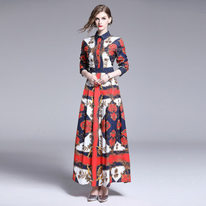 2020 Autumn Runway Elegant Floral Printed Maxi Dress Luxury Women Ladies Casual Office Button Lapel Long Sleeve Shirt Party Night Dresses