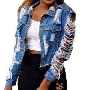 GRATUIT AUTRUCHE 2019 Automne effiloché Ripped Trou Jean Manteau de base Vintage Tissu manches longues Bouton de poche Veste en jean Outcoat T200828