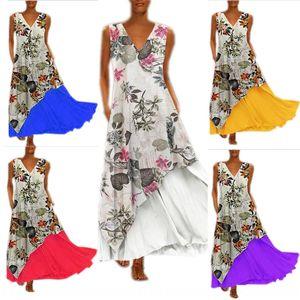 MliyZ Осень V-образный вырез без рукавов цветочного нерегулярного подола двухсекционного мешка платье молния платье с застежкой-молнией позади