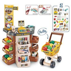 Alışveriş Kız Ev Pazarı Süpermarket Sepeti Pretend Play Oyuncaklar Register House Rol Kitleri Sayacı Nakit Simülasyon Eğitim Çocuk Oyuncakları WLATC