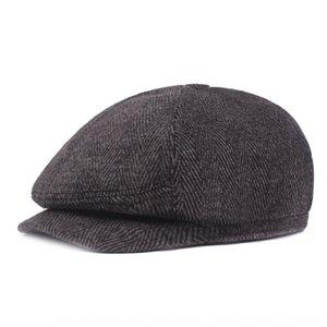 q2hC2 Herringbone inverno chapéu pontudo de meia-idade atingiu w Herringbone Quente meia-idade cap Beret inverno boina Pointed pico MQt61 'homens dos homens