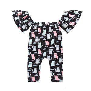 Free Shipping New Arrival Newborn Kids Baby Girl Cat Printing Flare Sleeve Jumpsuit Romper Outfits Clothes Z0128