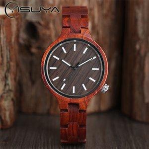 YISUYA Mode naturelles Casual Bois de Bambou QuartzWatches de simples Bracelet en bois Ladies Boucle analogique Femmes Coffret Cadeau Horloge Relojes