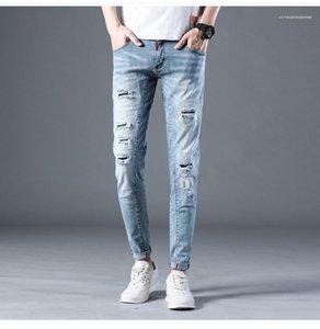 Длинные брюки мужские джинсы Hole Мода Zipper Fly Карандаш Брюки мужские Distrressed Натяжные Jeans Light Blue Mid