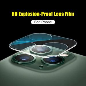 Protecteur de lentille de la caméra de verre trempé pour iPhone 11 Pro Max 3D Couverture complète HD Clear Scraty Résistant avec cercle flash