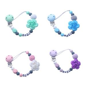 Personalizzata nome del titolare del silicone ciuccio Flower Beads dentizione catena di clip Dummy clip 5 colori