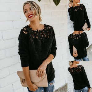 2020 Sexy Black Lace Women Hollow Sweaters Long Sleeve Pullover Tops Sweater Ladies O Neck Jumper Hollow Out Knitwear