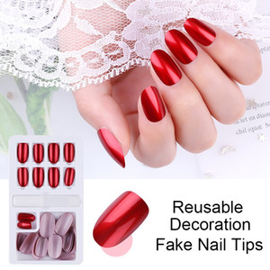 New with Sticker 24PCS Reusable Shiny Fake Nail Tips for Press On Long False Nails Art Artificial Tip Manicure Fake Extension Tips