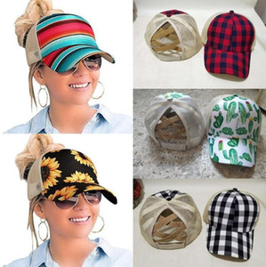 Ayçiçeği Criss Çapraz Beyzbol Şapkası 8 Stiller Ayçiçeği Ekose Cactus Mesh Hallow Out Beyzbol Şapka Yüksek Dağınık Buns Ponycaps Parti Şapkası OOA8504