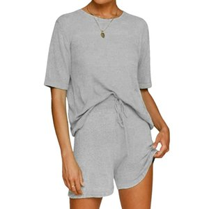 Women's 2010 Summer Solid Color Home Or Beach Casual Movement Round Neck Short-Sleeve Top And Drawstring Shorts Two-Piece Suit
