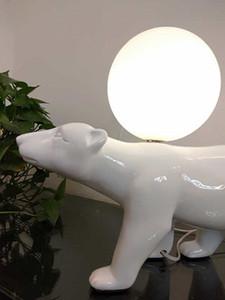 مكتب الحيوان الصناعية مصباح الحديثة لامعة الأبيض الراتنج الجدول مصباح الفن غرفة السرير الجدول ضوء الدب الأبيض في الأماكن المغلقة تركيبات الإضاءة