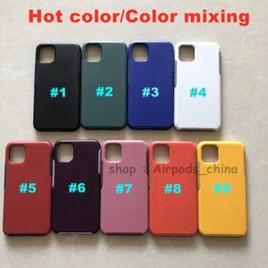 DHL 50pcs 2 en 1 caja del teléfono de prueba de golpes para el iPhone iPhone 11 pro colores dobles colorida de la cubierta completa de TPU + PC envío