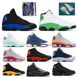 13 13s Hyper Royal удачи зеленый женщины мужчины обувь баскетбол Flint площадка бароны Голограмма Разводят бароны Hologra Aurora Green спортивные кроссовки