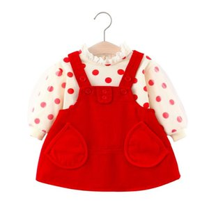 2020 kids clothes Girls kids suit new polka dot top with corduroy strap skirt