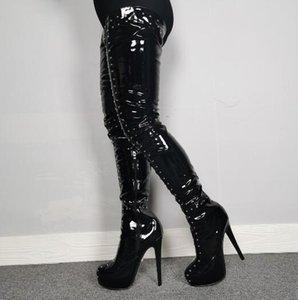 Mode cuir verni noir Rivets Cuissardes femme à bout rond talon aiguille clouté plate-forme sur le genou long Bottes