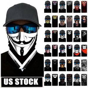 Stock Skull Magic Turban Bandanas Cráneo Máscaras de cara Esqueleto Deportes al aire libre Ghost Cuello Bufandas Diadema Ciclismo Motocicleta Wrap FY7139