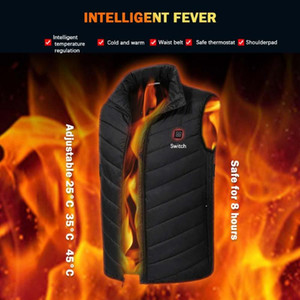 Hivernales électrique chauffée Gilet USB Chauffage Gilet d'hiver Tissu thermique Plume Camping Randonnée Chasse chaud