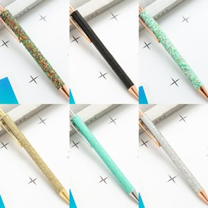 jmT3C Стики Black Pen толчок Металл Гель подарок ручка синего песок чернила Drift Шарикового творческий блеск Кристалл Pen Творческая Радуга Шариковая ручка Девушка Gif
