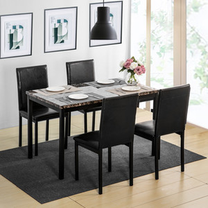 US stock 5Pcs Dining Set Kitchen Table Set Dining Table and 4 Leather Chairs fast shipping