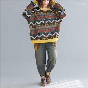 Mulheres Sweaters estilo Casual capuz As fêmeas Roupa Stripe Imprimir Designer Painéis Womens Camisolas Moda solto Literária