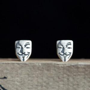 FUN-BEAUTY S925 plata en forma de V máscara de la venganza fresco pendientes creativo gótico retro pendientes del perno prisionero