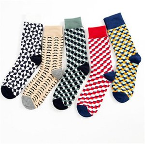 Man new style jacquard socks Combed cotton causal happy socks Geometry Plaid Mid-calf colorful socks