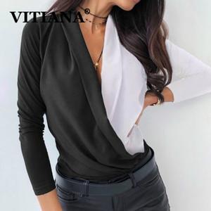 VITIANA ocasional de las mujeres blusa de la gasa de Primavera 2020 Mujer de manga larga con cuello en V remiendo Negro Partido blusas Tops Femme elegante Top