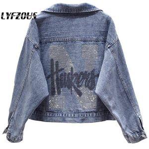 2020 New Spring Antumn Denim Jackets Women Ins Fashion Rhinestones Coat Girl's Casual Outerwear Letters Print Jean Jackets Coats
